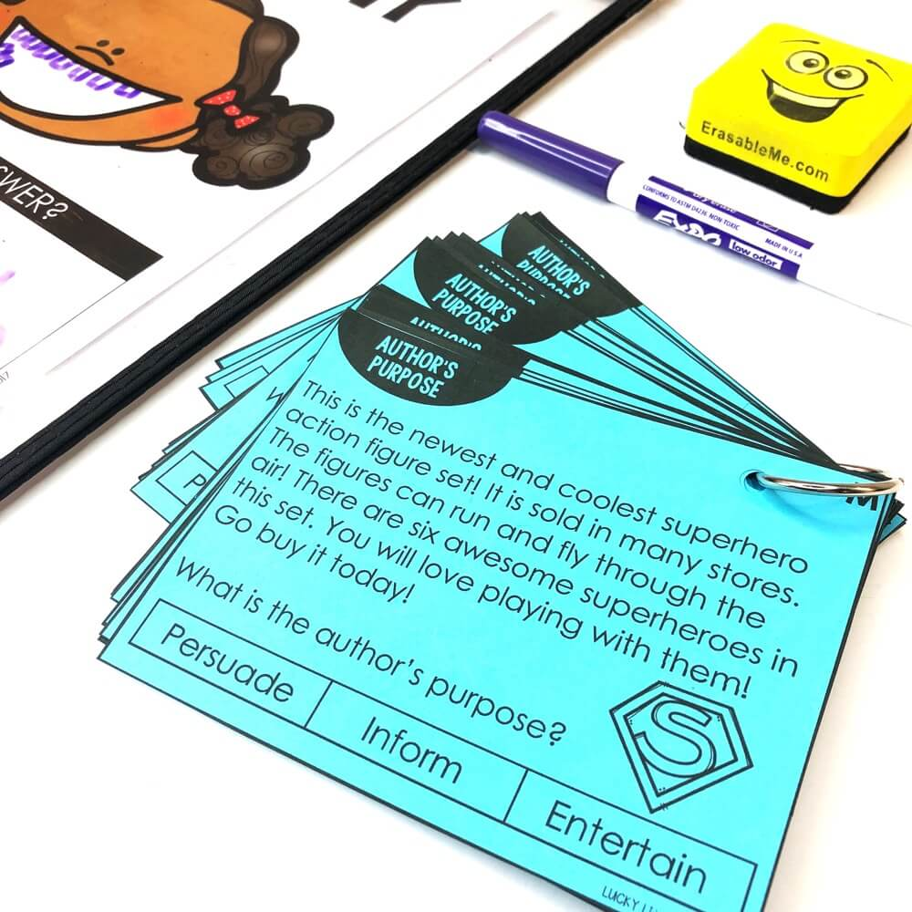 There are 24 author's purpose task cards included. Each card features a short passage with a text-dependent question. Students will need to read the text to determine whether the text was written to persuade, inform, or entertain. #2ndgrade #authorspurpose