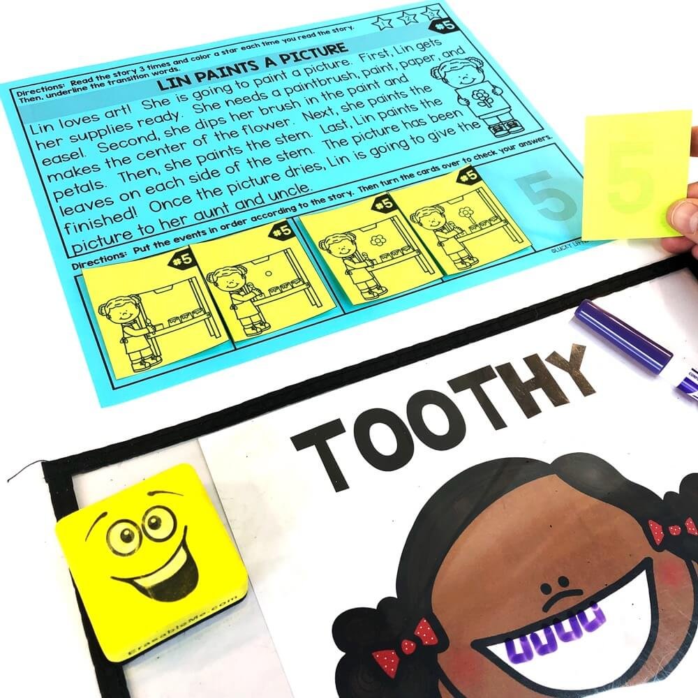 SEQUENCING KIT INCLUDES: 24 sequencing passages (2nd grade text complexity) 120 sequencing task cards 120 sequencing answer cards to print on the back of the task cards 12 Toothy mats (boy & girl) (black & white and full color) container label directions prep suggestions #2ndgrade