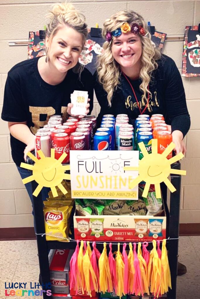 Those darn teacher blues...you know what I'm talking about!  There are just certain times of the year where the morale in your school seems low and everyone needs a little boost.  How about a teacher treat cart?  #sunshinecommittee
