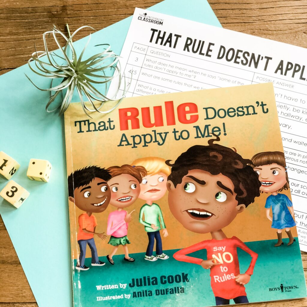 You can tell your students to be respectful all day long, but using stories to show good models of respectful behavior is key! I love Julia Cook's books for teaching character, and one of my favorites for respect is That Rule Doesn't Apply to Me from the Responsible Me! series. This story teaches your students why we have rules and that it all comes down to respect.
