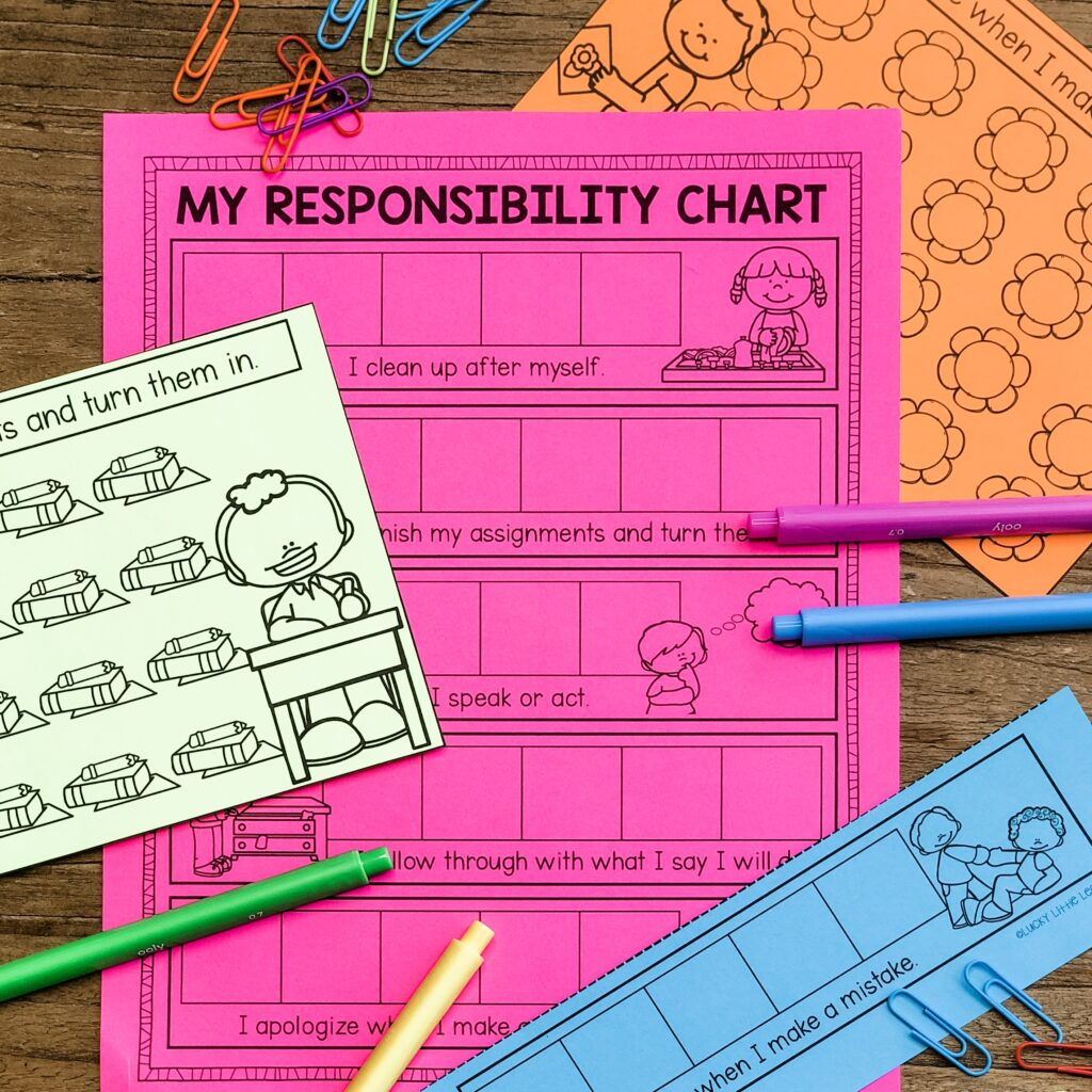 "The best way for students to learn responsibility is to be held accountable. As adults, when we want to succeed, we set goals. Use goal trackers from The Encouraging Classroom with statements like ""I clean up after myself"" and ""I finish my assignments and turn them in"". Other behavior and academic goals are on the chart.  #SEL #charactereducation"