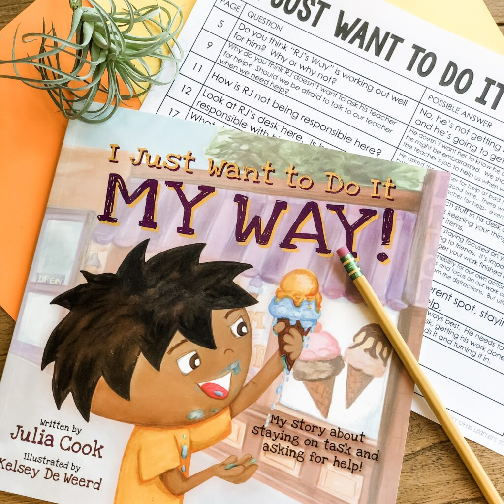 Your first and second graders love to hear you read stories! What better way to teach responsibility than through read alouds. Books like I Just Want to Do It My Way by Julia Cook are perfect texts to show students how they can take responsibility for their own actions.  #SEL #readalouds #charactereducation