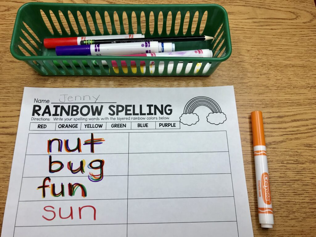 rainbow spelling activity