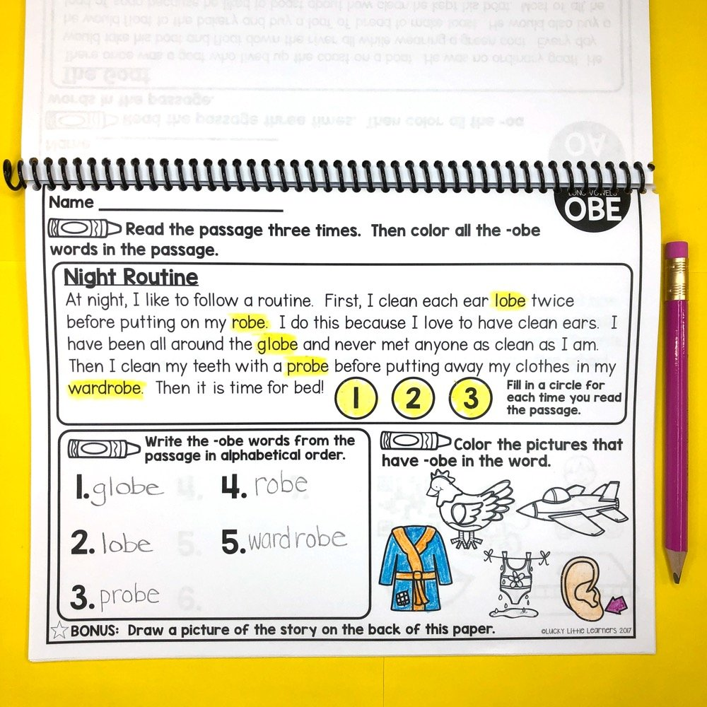 image of phonics reading passage