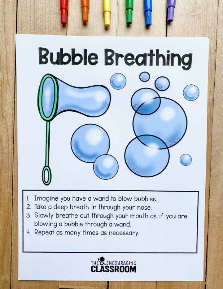 The most important thing to remember when teaching breathing techniques for kids is to model the techniques with your students and meet them where they are at. These are super techniques to use when students are hyper, upset, or angry.