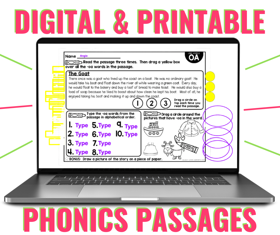 Digital passages are great 1st grade and 2nd grade phonics activities for distance learning.