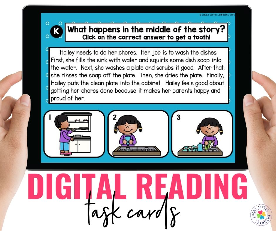 Digital reading task cards are the perfect reading activity for distance learning!  Students read a short passage and answer text dependent questions.  The questions are self-correcting and highly engaging!  Perfect for remote learning!