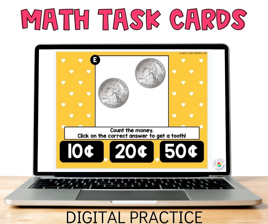 Digital math task cards are great 2nd grade math activities for distance learning.  They are self correcting and highly engaging!