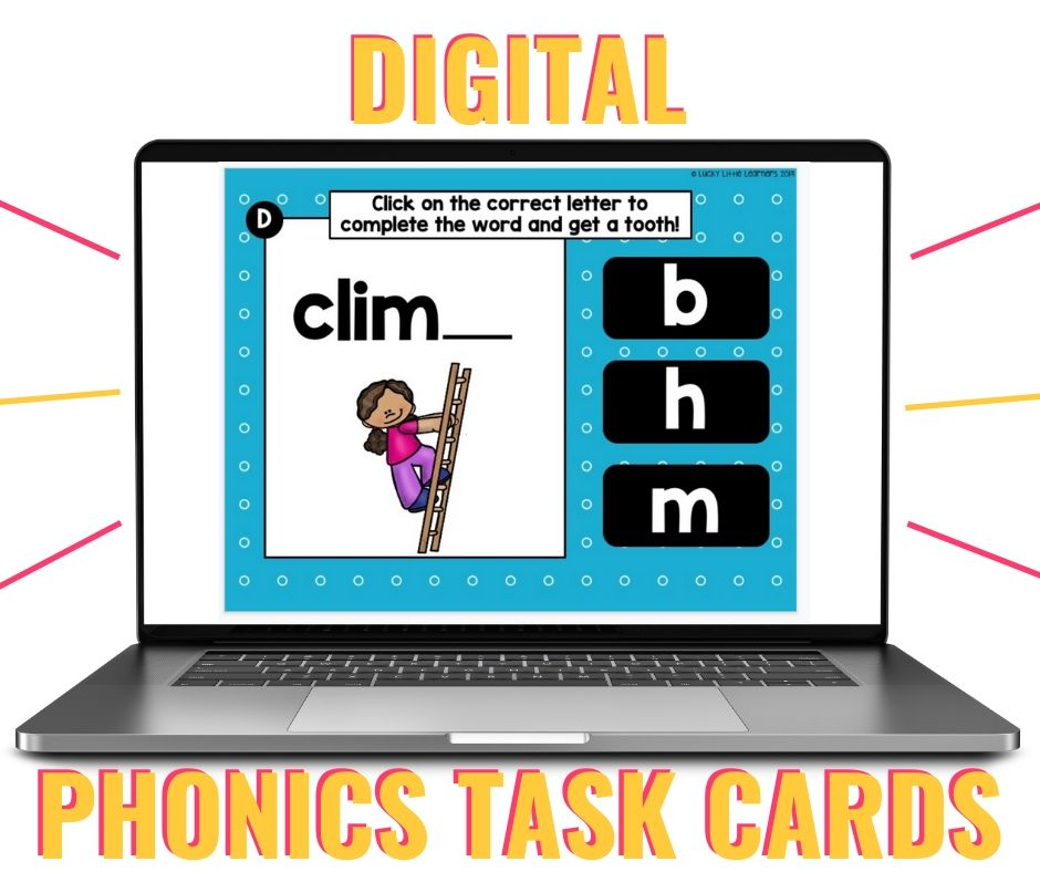 Digital phonics task cards are perfect for distance learning!  Assigning these phonics activities are super simple and highly engaging!  They work with any platform as well!