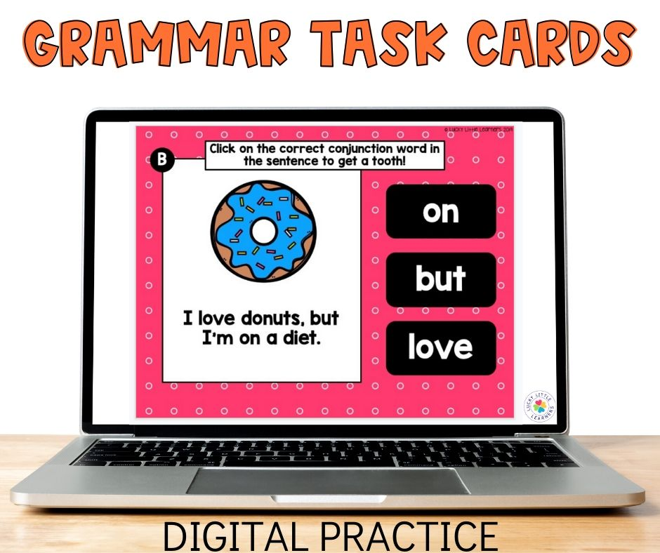 Digital grammar task cards are great 2nd grade grammar activities for distance learning.  They are self correcting and highly engaging!
