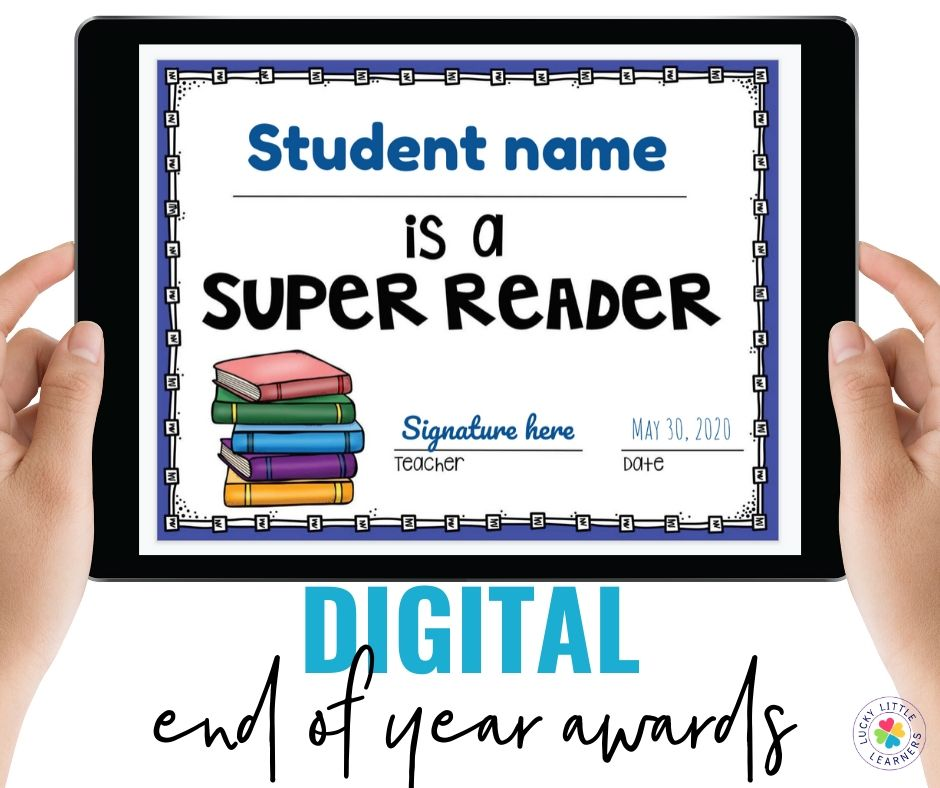 Our End of the Year Awards are now provided in both a printed and digital format!  If you already own this resource, go ahead and download the free update.  There are 75 different award titles.  They are available as certificates, lanyards, or brag tags.  They are provided in a printed version, editable version, and now digital version.