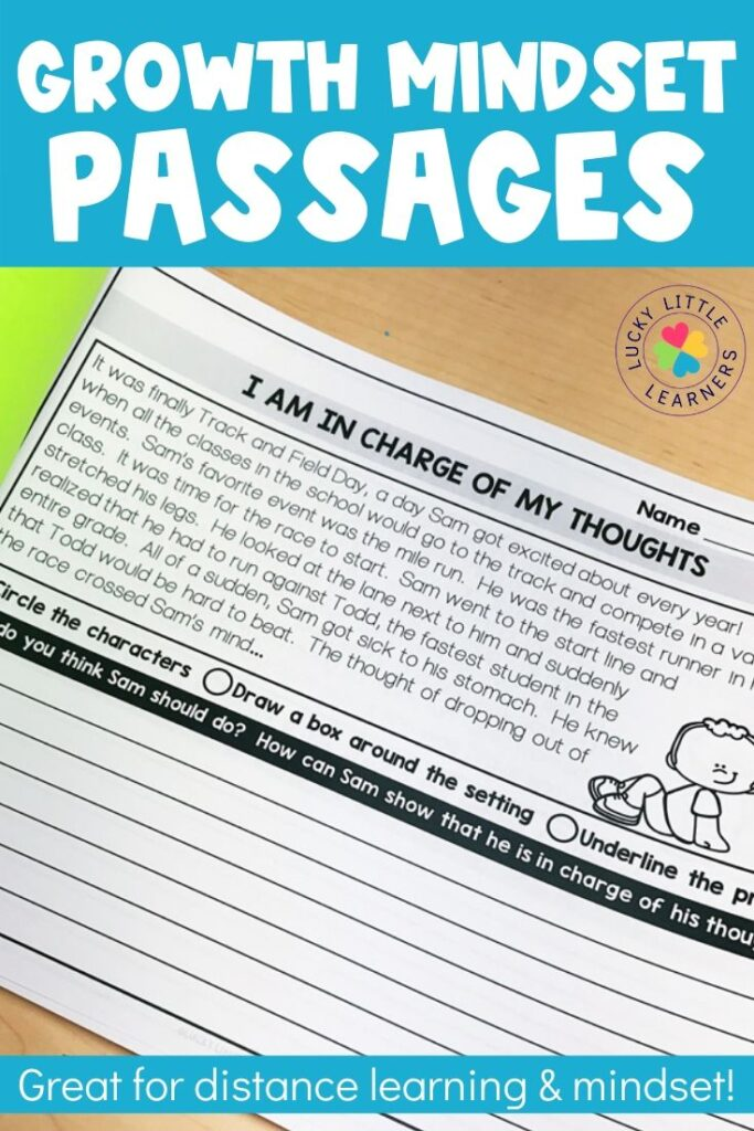 This resource includes 39 growth mindset passages. Each passage gives a social scenario that students can relate to. At the end of each scenario, the student is given a question or two that ties in with the lesson in the passage.