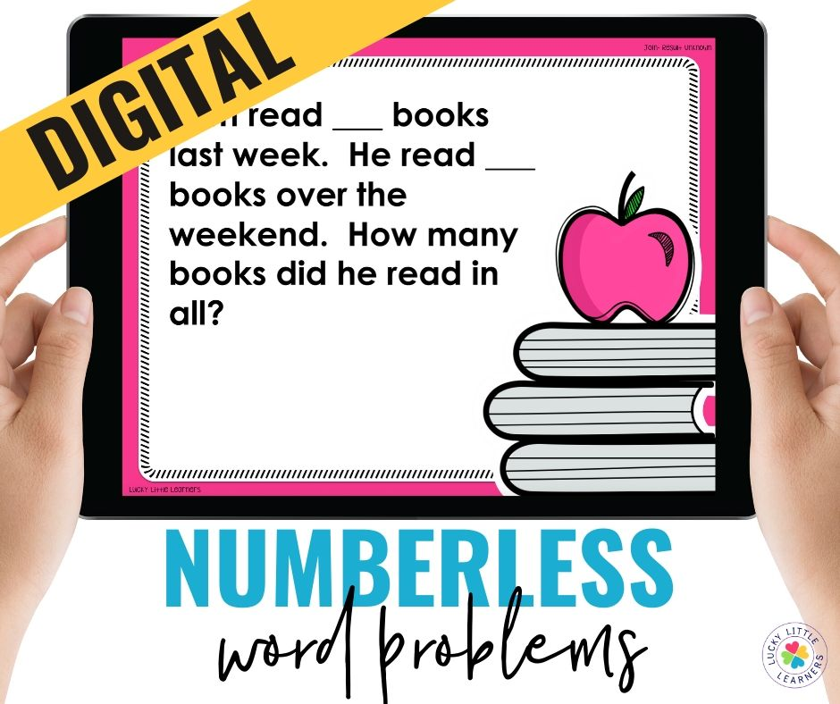 Numberless word problems guide students through their thinking and reasoning as to why they are adding or why they are subtracting.  Numberless word problems are provided in both printed and digital formats.  Great for the classroom or home while distance learning!