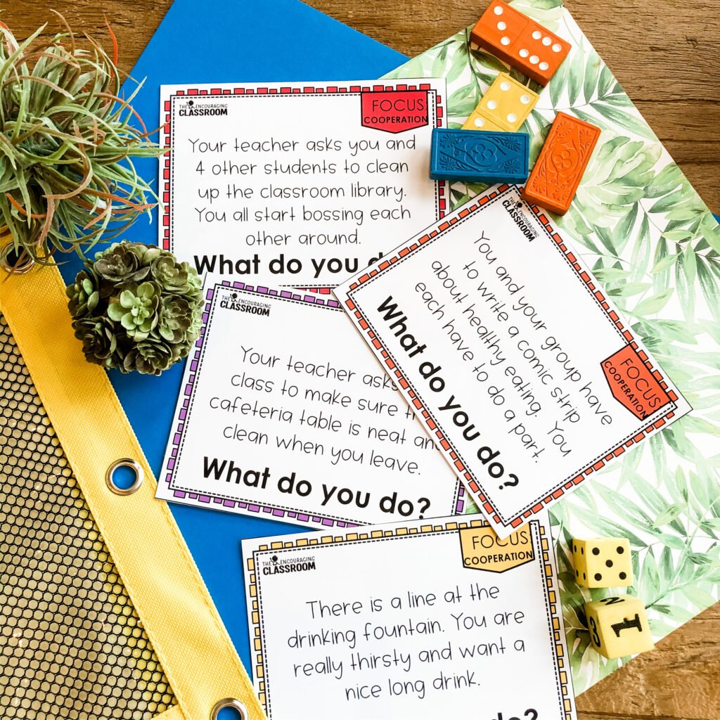 Cooperation scenario cards from the The Encouraging Classroom are great for whole group instruction, writing prompts, or reinforcing skills with individuals or small groups. Social emotion learning activities for back to school can all be found inside The Encouraging Classroom