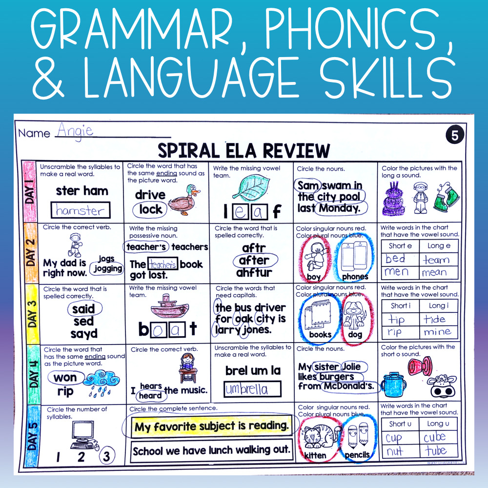 This 2nd grade resource is perfect for distance learning packets, morning work, homework, daily ELA review, and independent literacy centers. It's a no-prep option for students to practice their grammar, phonics, and language skills.