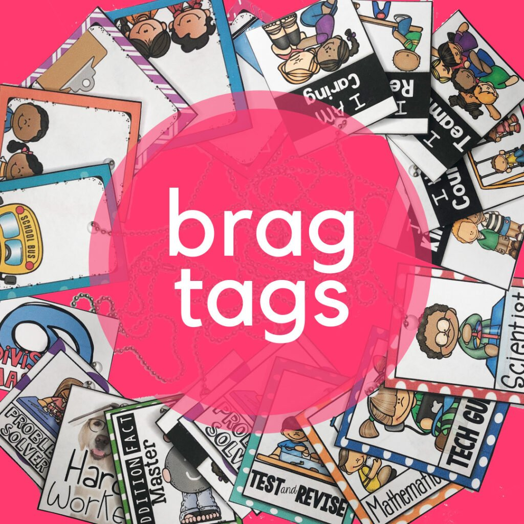 Brag tags are a great option to motivate and reward your students to meet and exceed their academic and behavior goals.  Brag tags are a great classroom management system for elementary classrooms!