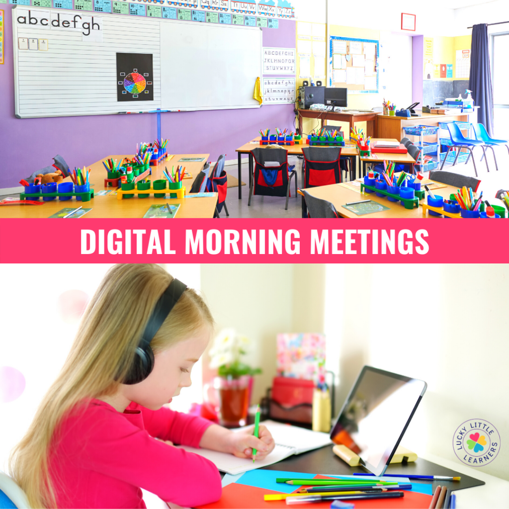 Morning meetings are great for several reasons. They help establish classroom routines (so important!), build the classroom community and lay out the day so students know what to expect. During distance learning, morning meetings are still doable!  Here is a sample outline of a distance learning morning meeting...