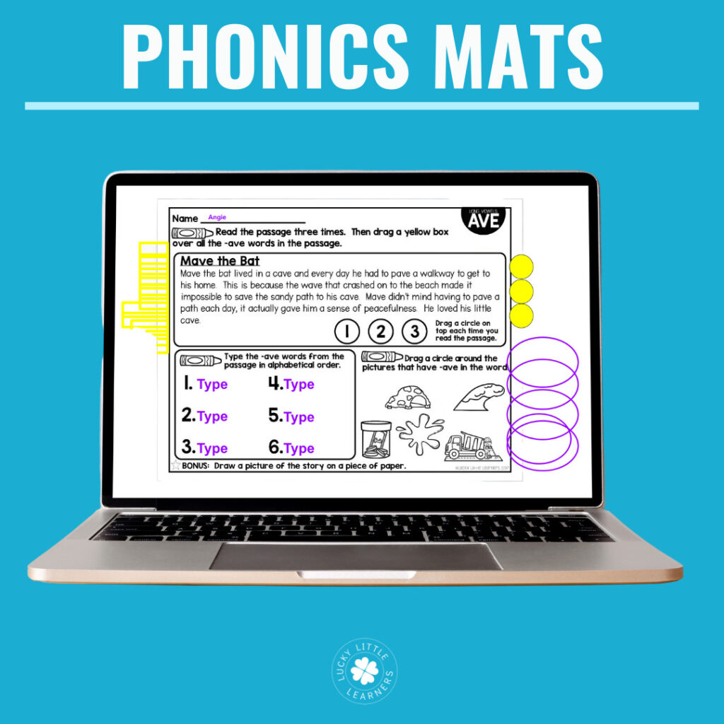 These phonics reading passages are available in both printable and digital versions. Students practice reading fluency, alphabetical order, and phonics skills.