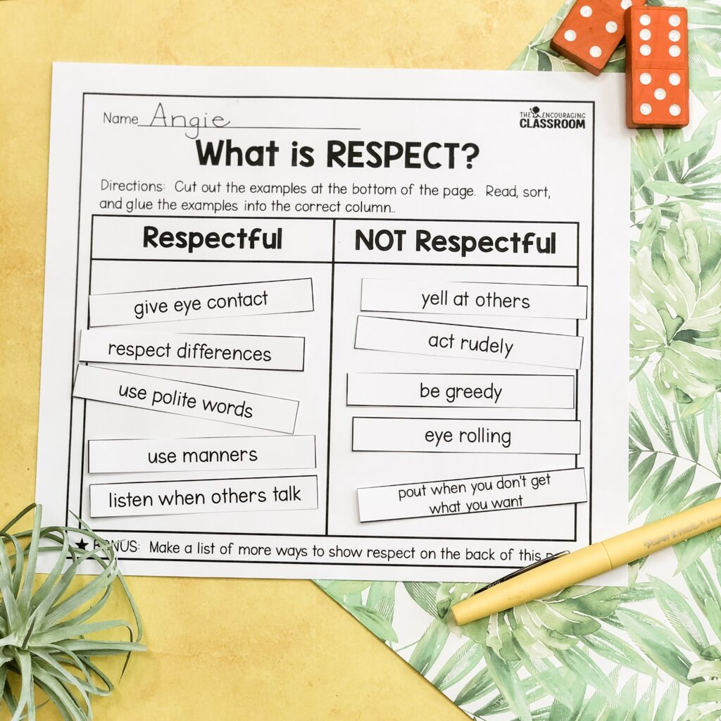 Do you need some activities that teach your students about respect?  These respect sorts are great.  Students read and sort the actions into two categories:  respectful and not respectful.