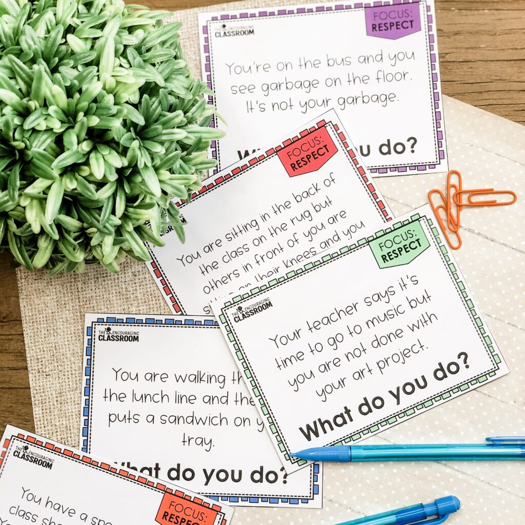 Scenario cards are a great respect activity for the classroom. Use these as a tool for a whole group discussion or even writing prompt! There are 8 scenario cards included. Each scenario is relatable to your students and prompts them to decide what they would do if they were faced with the same scenario.
