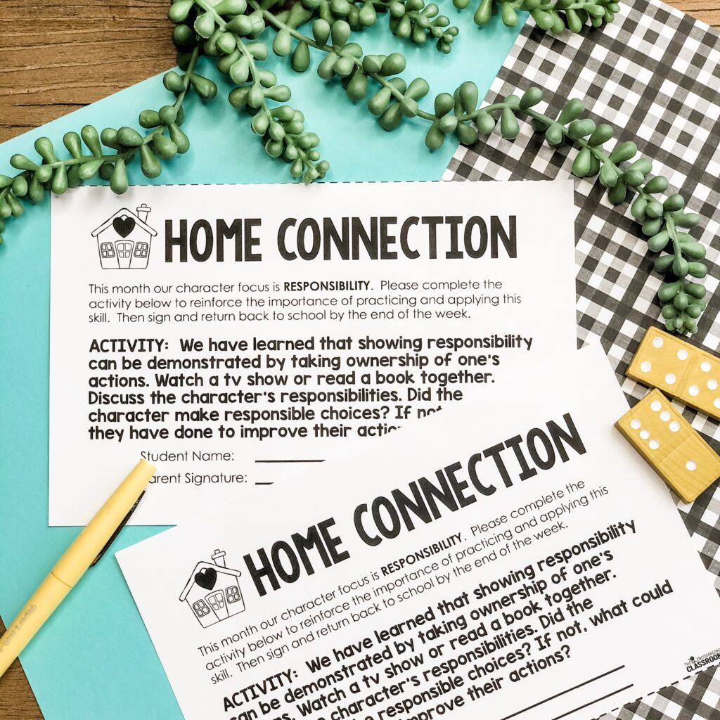 home connection notes to share with parents about responsibility activities