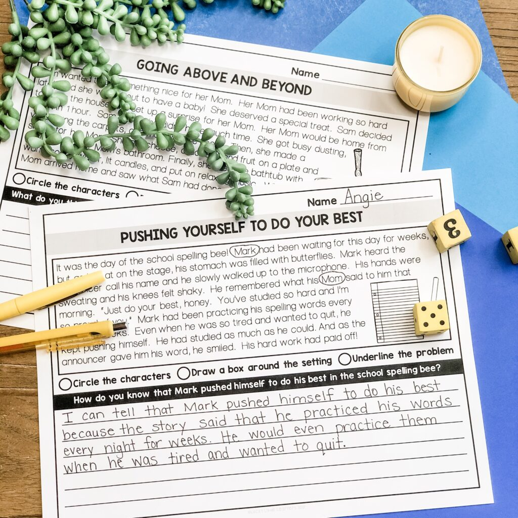 These read and respond passages include a 1st grade and 2nd grade set with correlating text level complexity.  Students can do this independently, in a small group, or whole group with the teacher walking them through the activity.  Students read the passage.  The passage has a difficult situation with no ending.  The students need to decide how to respond to the situation.