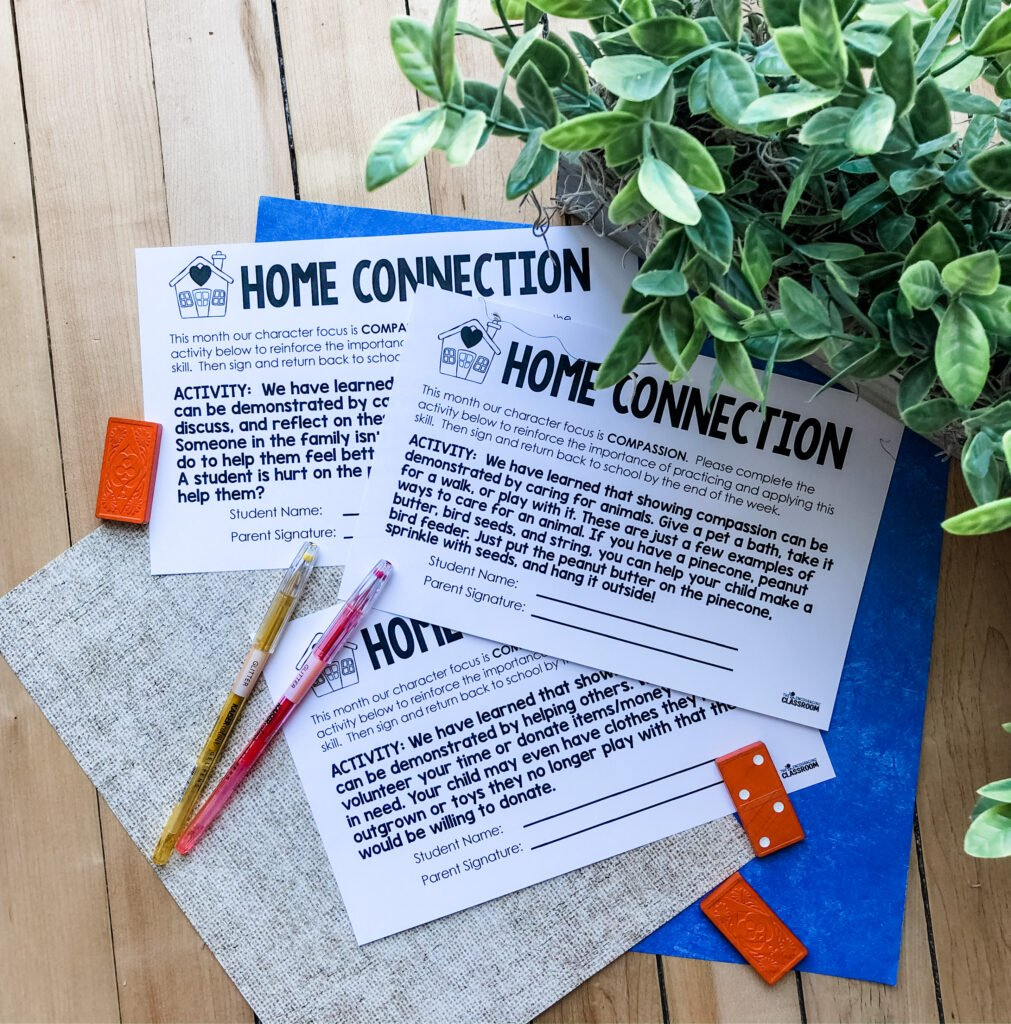 Home connections help bridge the learning that is happening at school and brings it into the home.  Home connections are a quick task that all families can do at home with their child(ren) to help reinforce the character focus skill.  There is one per week for the entire month.