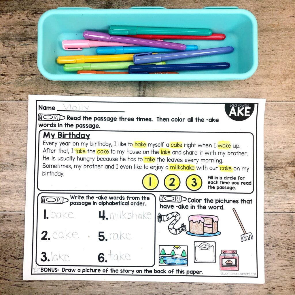 Phonics reading passages are a great tool for take home packets, homework, or even small group guided reading activities.