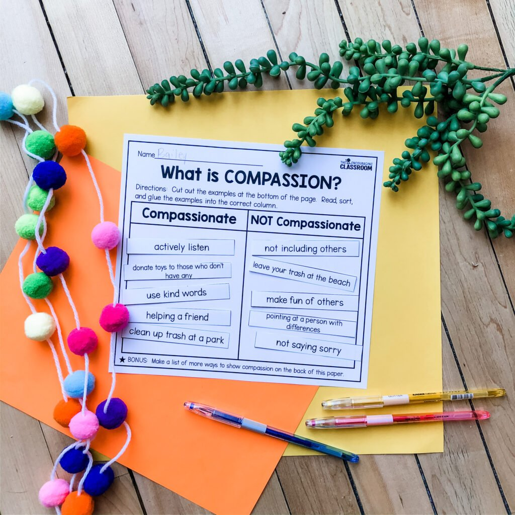Teach compassion and SEL through these type of activities!  Students cut behavior actions off the bottom of the page.  Then they read and sort the actions into two categories.