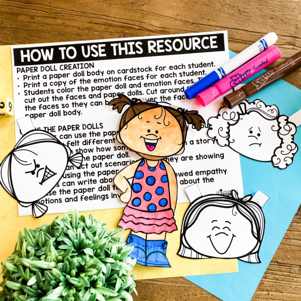 Teach empathy through the use of paper dolls!  These empathy activities are perfect for social emotional learning distance learning.