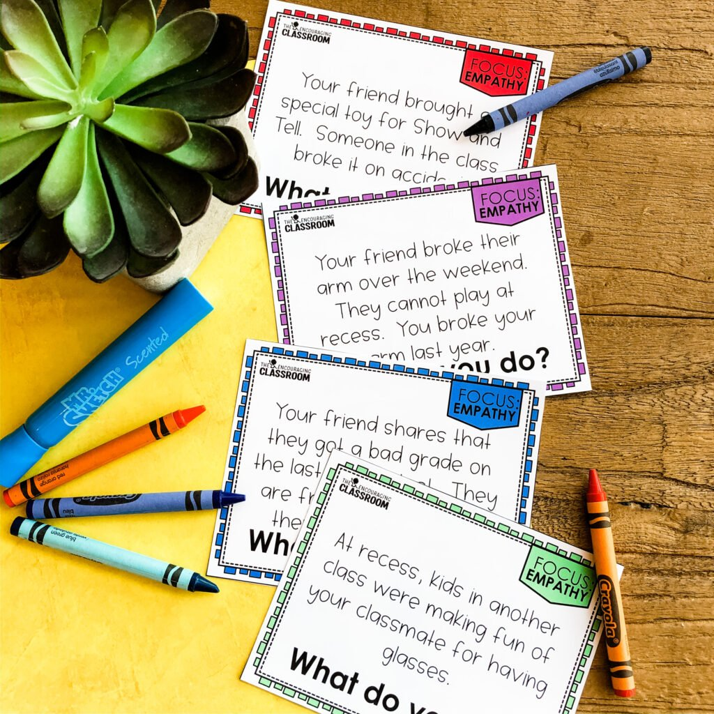Use these as a tool for a whole group discussion or even writing prompt!  There are 8 scenario cards included.  Each scenario is relatable to your students and prompts them to decide what they would do if they were faced with the same scenario.  We have also included full page scenario card options for you to display on your SMART board.  These are great to use for morning meeting discussions!
