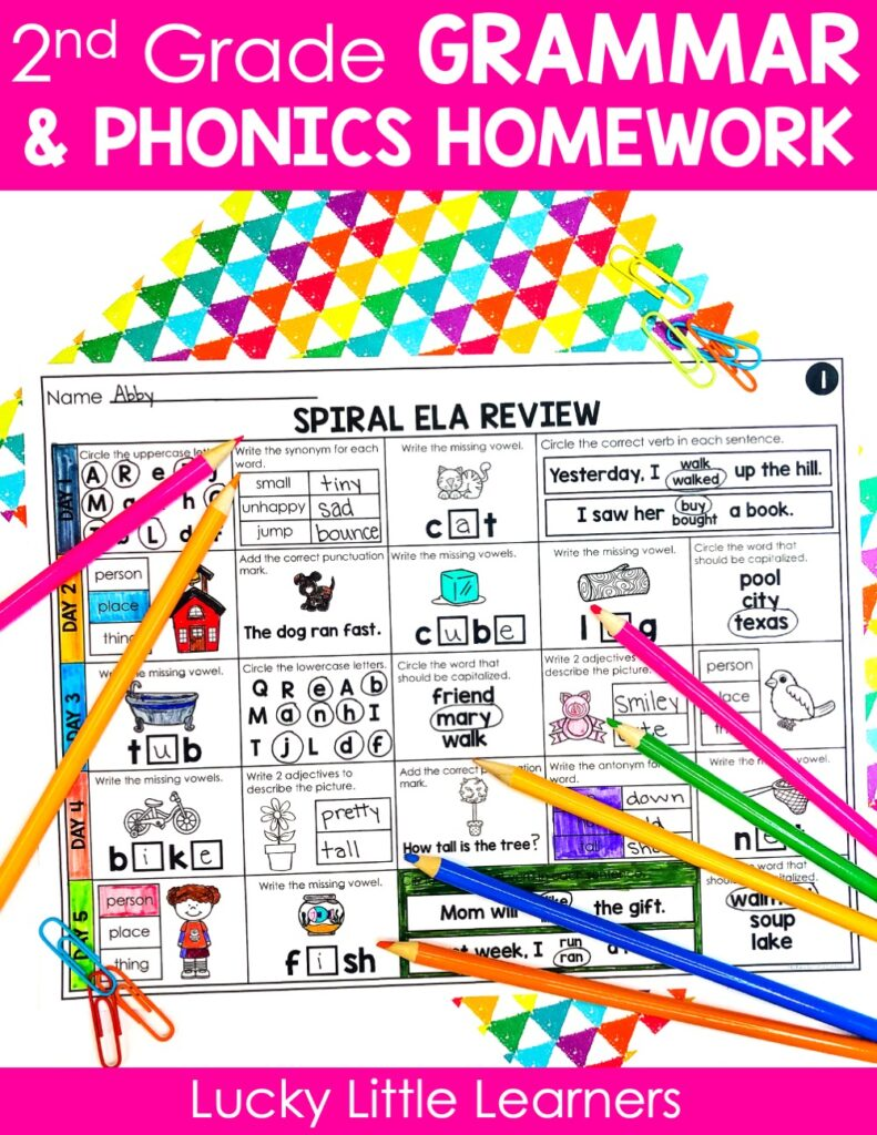 Grammar is a vital skill for developing readers and writers, but sometimes it can be a challenge to plan, prep, and teach. This is why The 2nd Grade Spiral ELA Review Bundle makes it so easy to plan for second grade language arts! Try these simple homework assignments to help your students with grammar review from first to fourth quarter in your classroom!