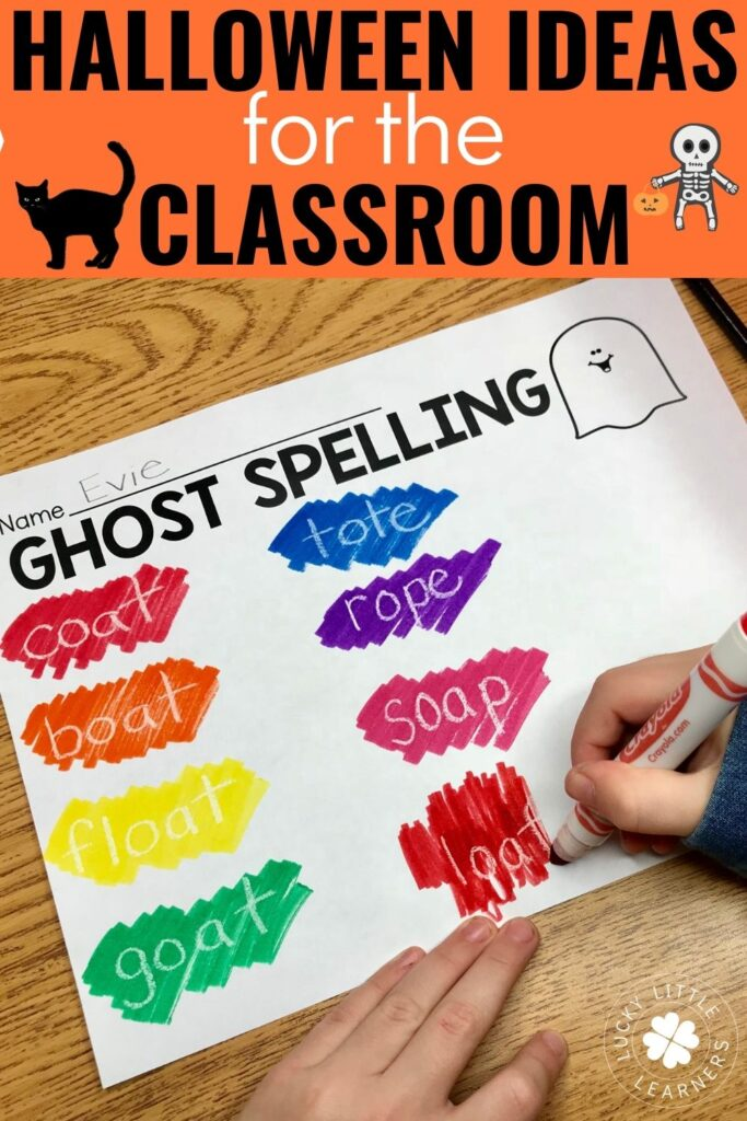 October is here and teachers are hard at work looking for ways to keep learning fun.  If you are looking for Halloween ideas for the classroom, this post has some great options such as ghost goop, spiders and bats unit, spooky music options, ghost spelling, and fact family haunted houses.