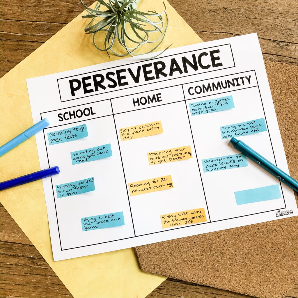 The perseverance anchor chart from The Encouraging Classroom will help your students sort and identify examples of this characteristic in different settings.  At school, learners may practice tough math facts or sound out difficult words. Perseverance at is all about doing things that may not come easy right away This includes riding a bike, practicing sports skills, and trying a musical instrument.