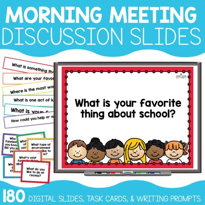 Morning meeting slides are a must-have tool for every classroom who does morning meeting. These no prep discussion starters are a wonderful and easy option to display every morning for your class. We have included 180 no prep digital slides for you to display on your board. All of our discussion slides are kid-friendly and appropriate for grades K-3.