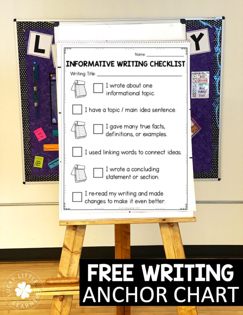Writing checklists make GREAT anchor charts to support your mini-lessons. You can display the Lucky Little Toolkit writing checklists on your SmartBoard, or print them for use on chart paper.