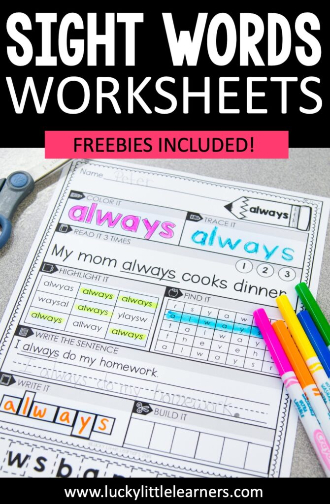 These sheets give your students a variety of ways to practice their sight words! On each worksheet, students focus on one sight word at a time. They practice the word by coloring it, tracing it, reading it in a sentence, highlighting it, finding it in a word find, writing it in a sentence, writing it in letter boxes, and cutting/ pasting the letters to form the sight word.