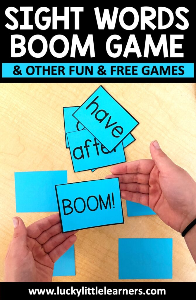 "Create this game using sight word cards and some cards that say ""Boom"". Take turns drawing cards from a deck in the center of the group. Students keep the card they drew once they accurately read the sight word. If a student draws a ""Boom"" card, they have to turn in all the cards they have accumulated to that point. Fun twist: Exchange the ""Boom"" cards for ""Boo"" cards in October, ""Gobble"" cards in November, ""Grinch"" cards in December, etc."