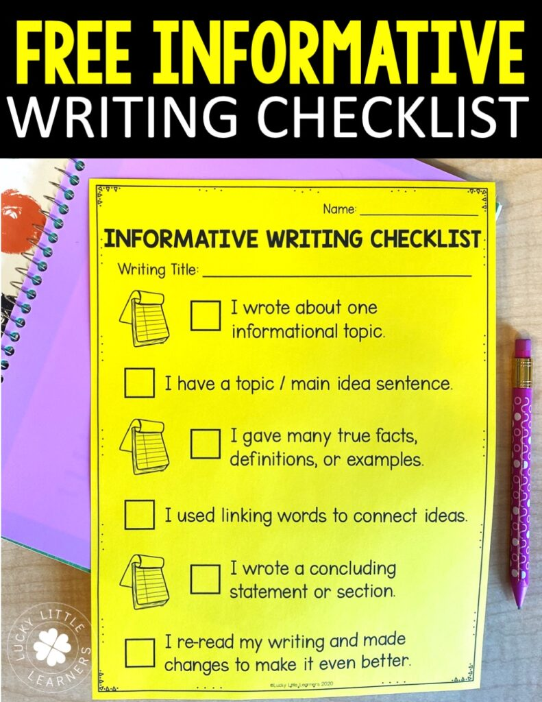 Free informative writing checklist- your students can refer to both your anchor chart AND their own personal checklist for independent writing following the lesson!