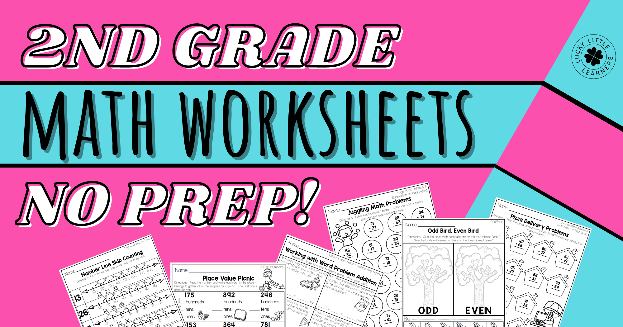 2nd Grade Math Worksheets – No Prep!
