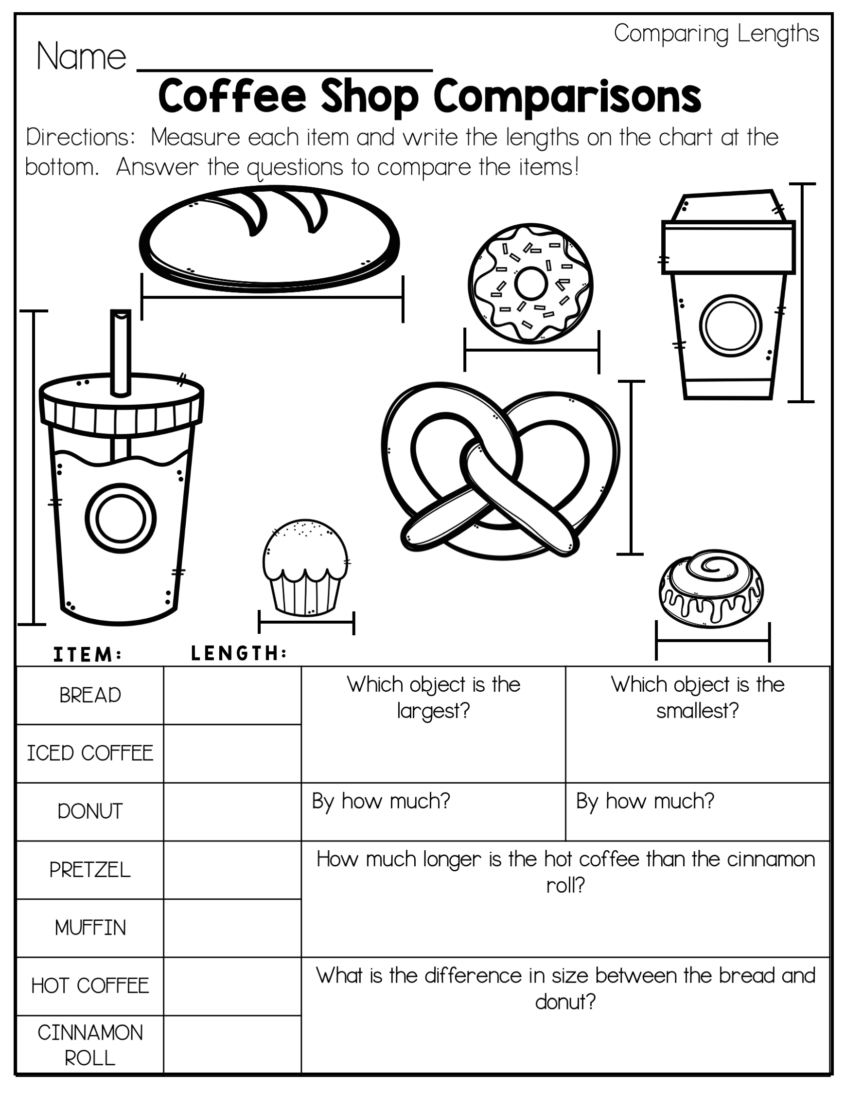 Comparing lengths 2nd grade worksheets