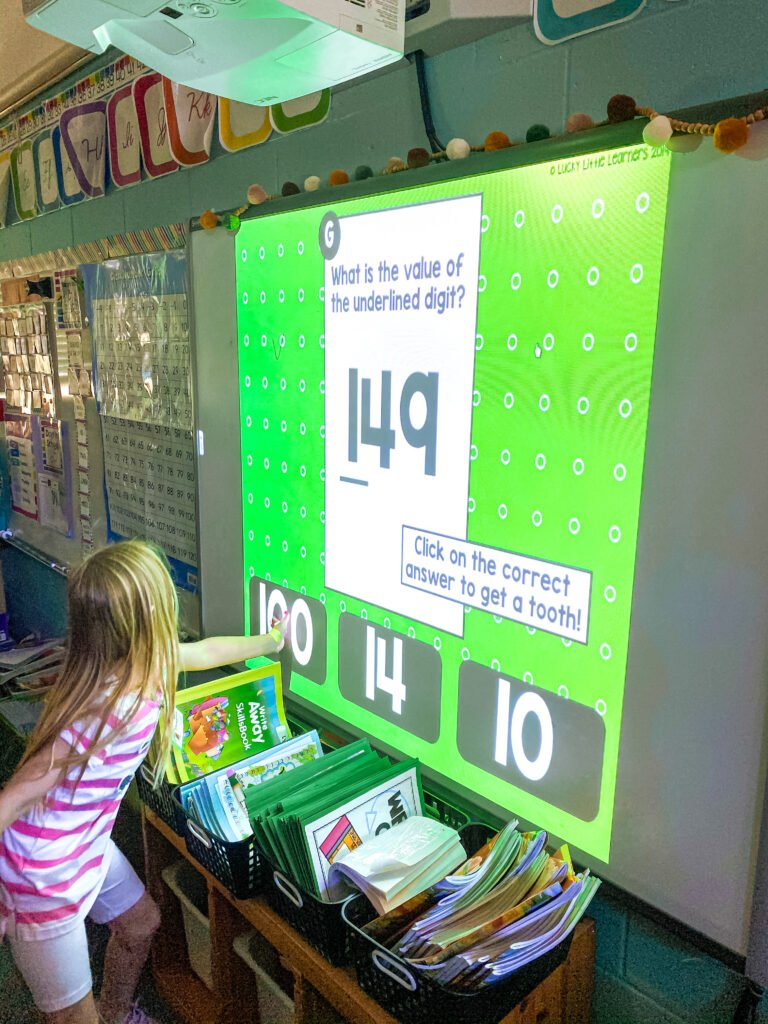 Project digital Toothy tasks for instant interactive lessons in a K-3 classroom!