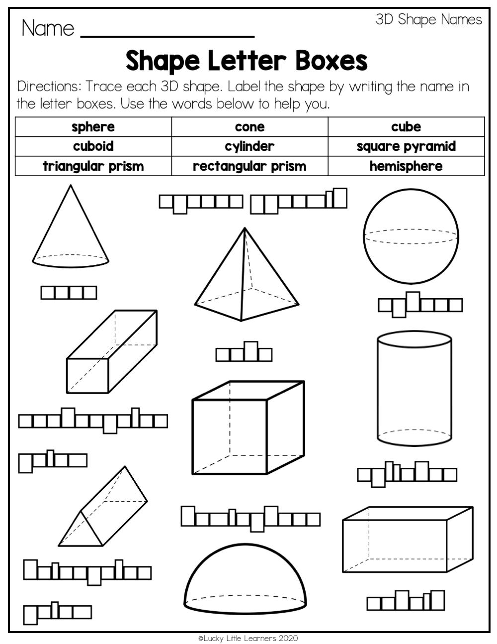 2nd Grade 3D Shapes Worksheets