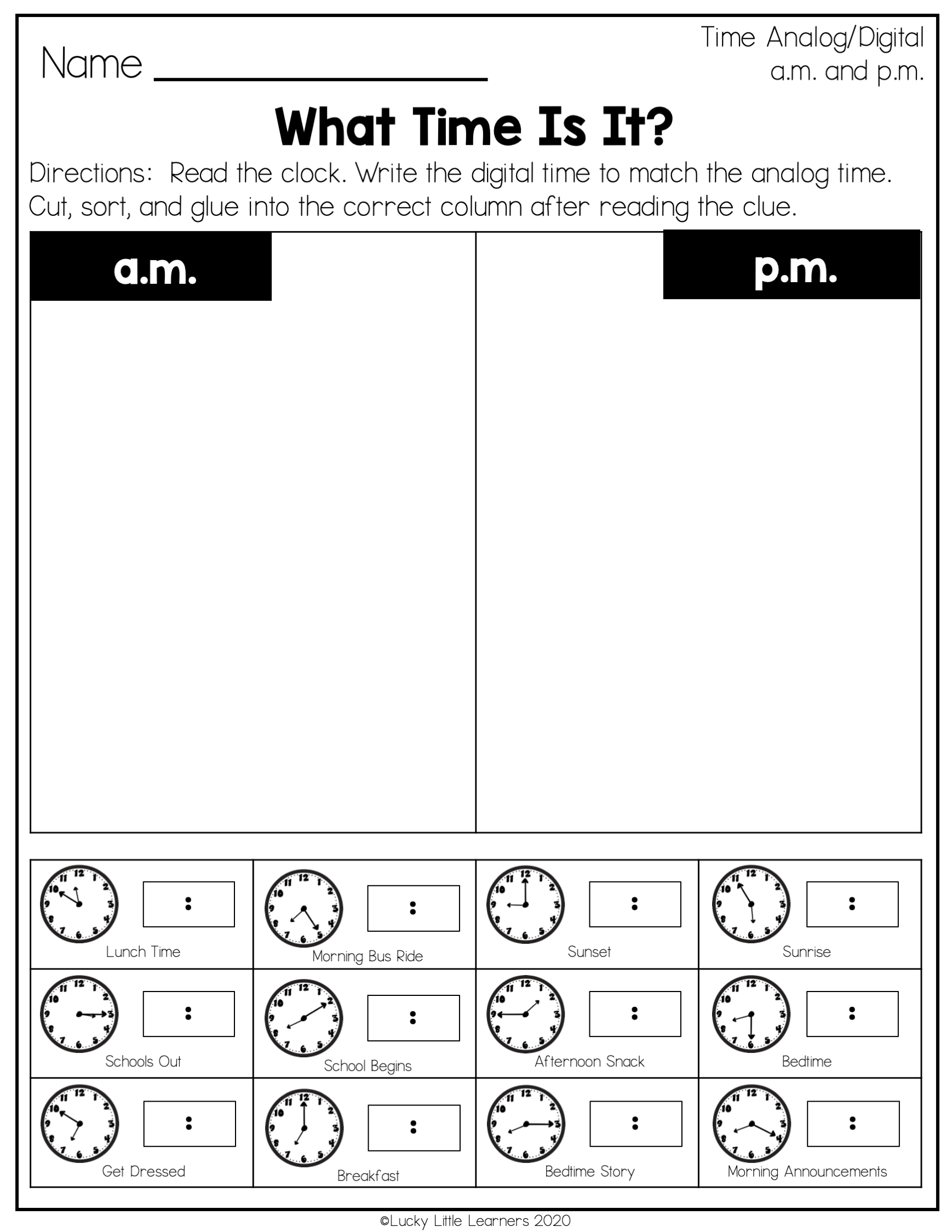 Telling time is a tough skill for second graders, but it has the opportunity to be a lot of fun as well! Add these worksheets in where you need some extra practice. Whether that's drawing hands on the clock or matching time your students will be confident in their time-telling skills in no time! Even better they will grow in confidence in that hard-to-learn skill - A.M and P.M. Make learning how to tell time on a clock rock!