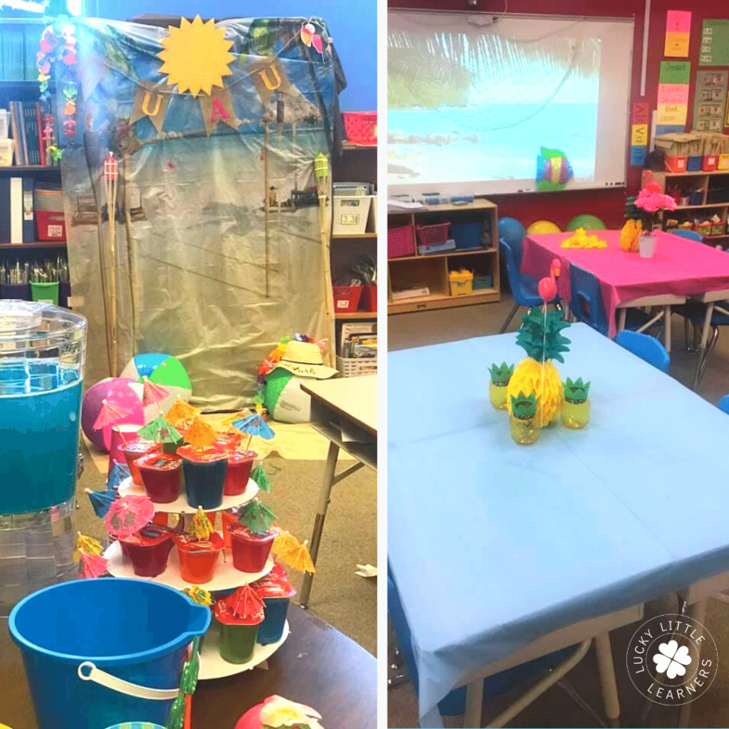 Try transforming your classroom in a day at the beach! It requires extra work but the looks of amazement from your students will be well worth it. Hand out leis, blow up some beach balls, and get some summer-themed learning activities ready to go!