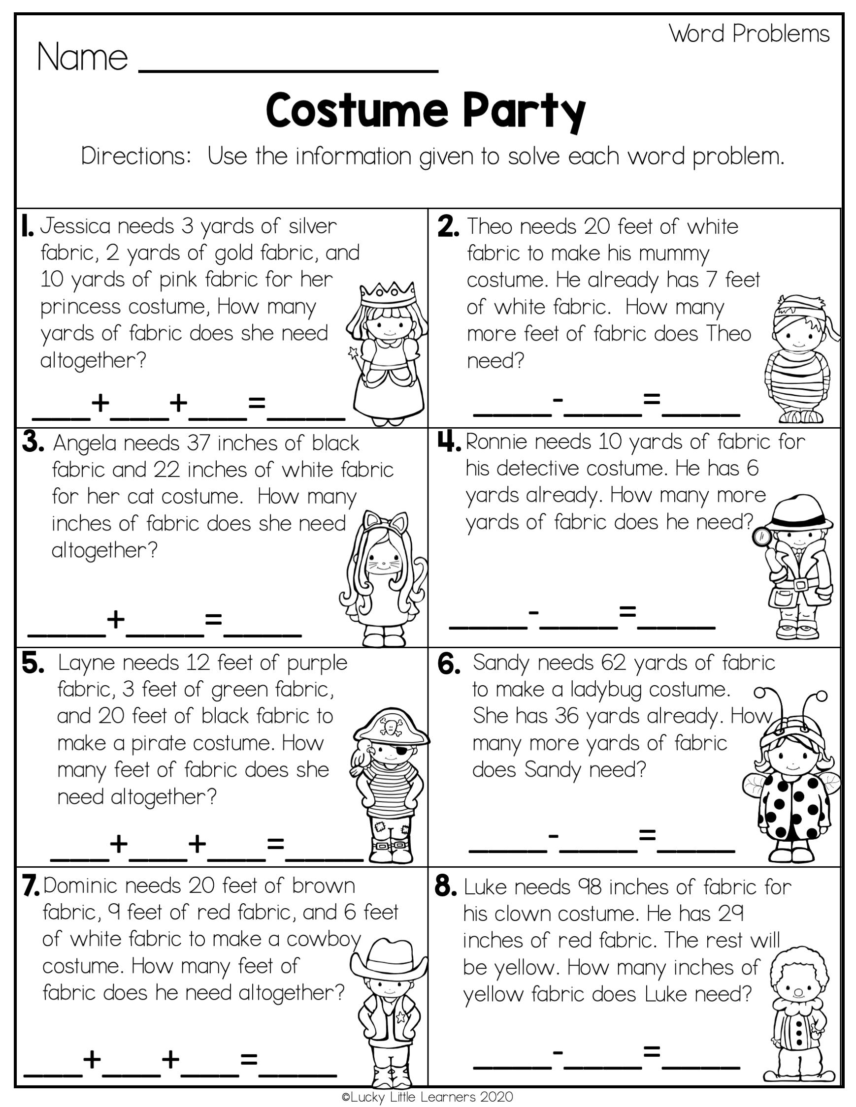 2nd grade word problem worksheets