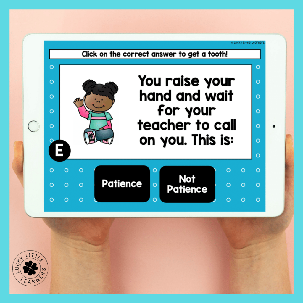 SEL Toothy time!! As an end of week wrap up, have students play the Toothy set that matches your focus social emotional learning skill.