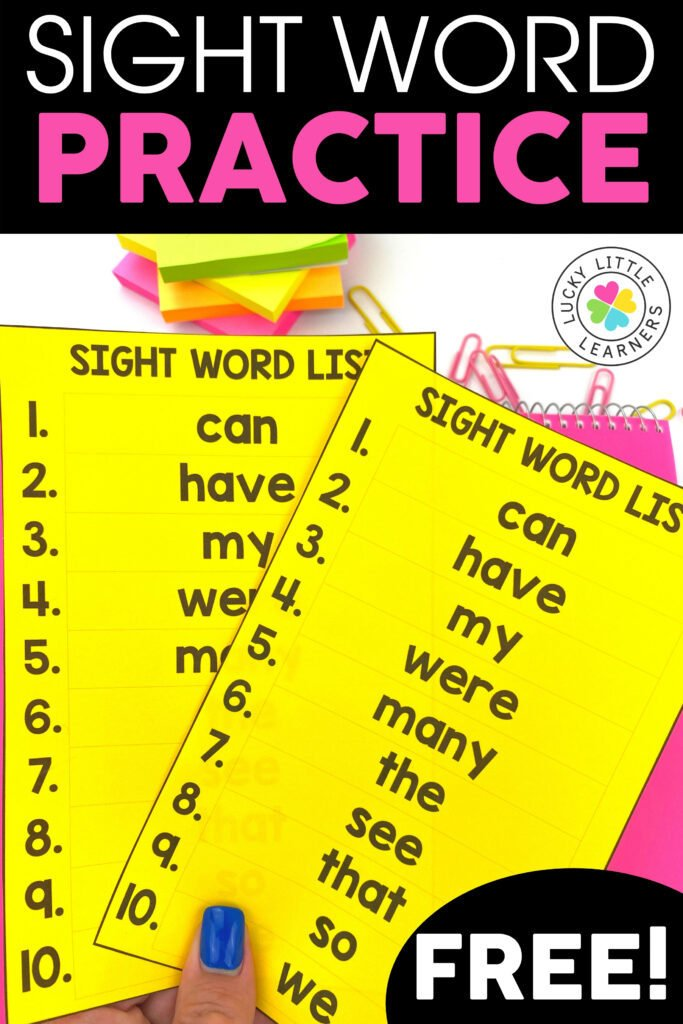 generate custom sight word lists with this free download