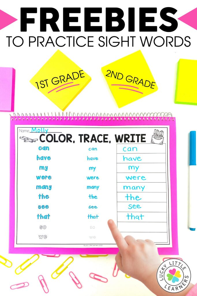 color trace write is a free sight word activity for 1st and 2nd grade