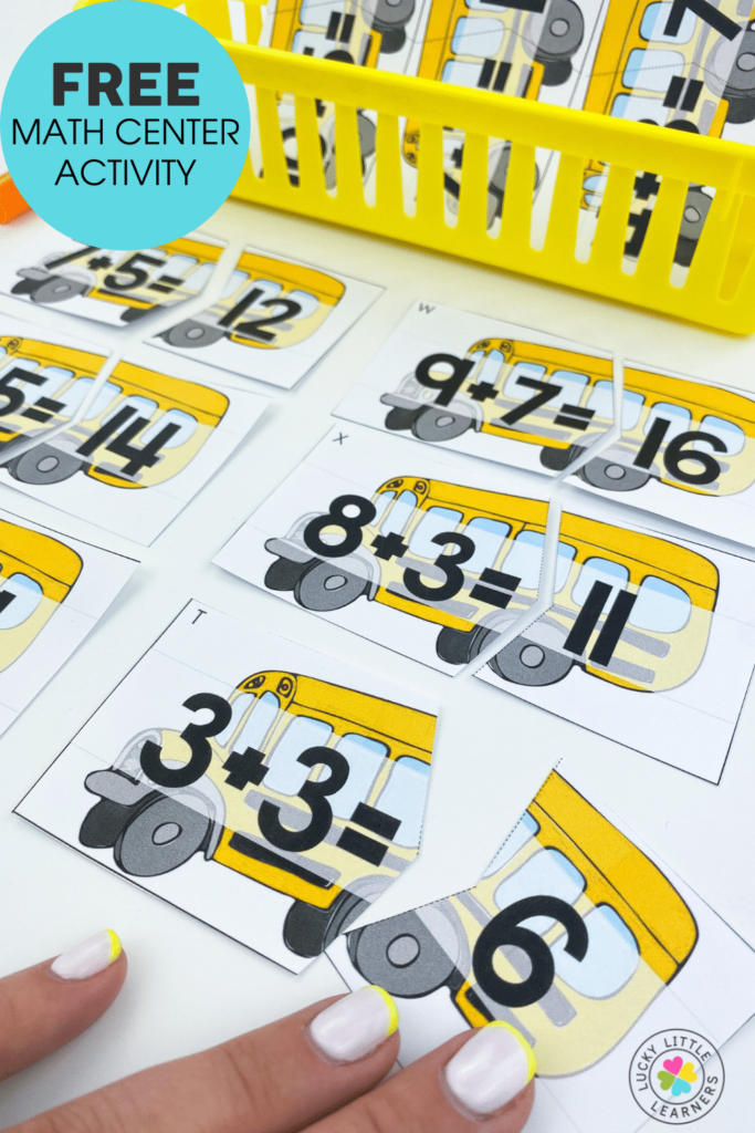 school bus puzzles to practice addition to 18 math facts